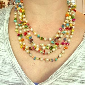 🌈 🌈 Beautiful layered gem&pearl necklace
